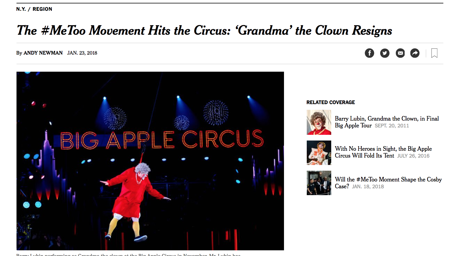 Grandma The Clown Resigns: NY Times article