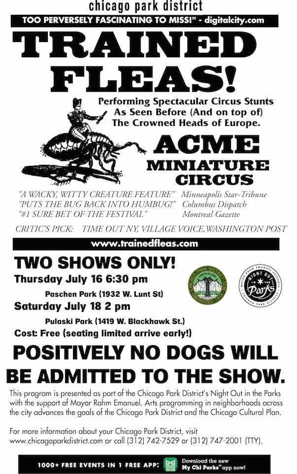Flea Circus in Chicago July 16-18
