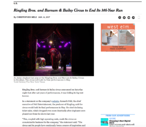 NYTimes article about Ringling closing down.
