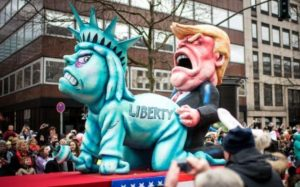 German Carneval Float: Trump and Lady Liberty
