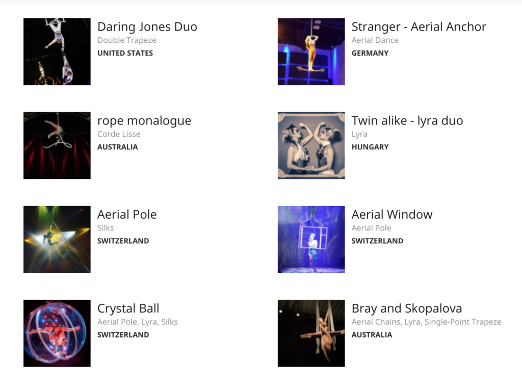 Aerial Acts Listed on CircusTalk.com