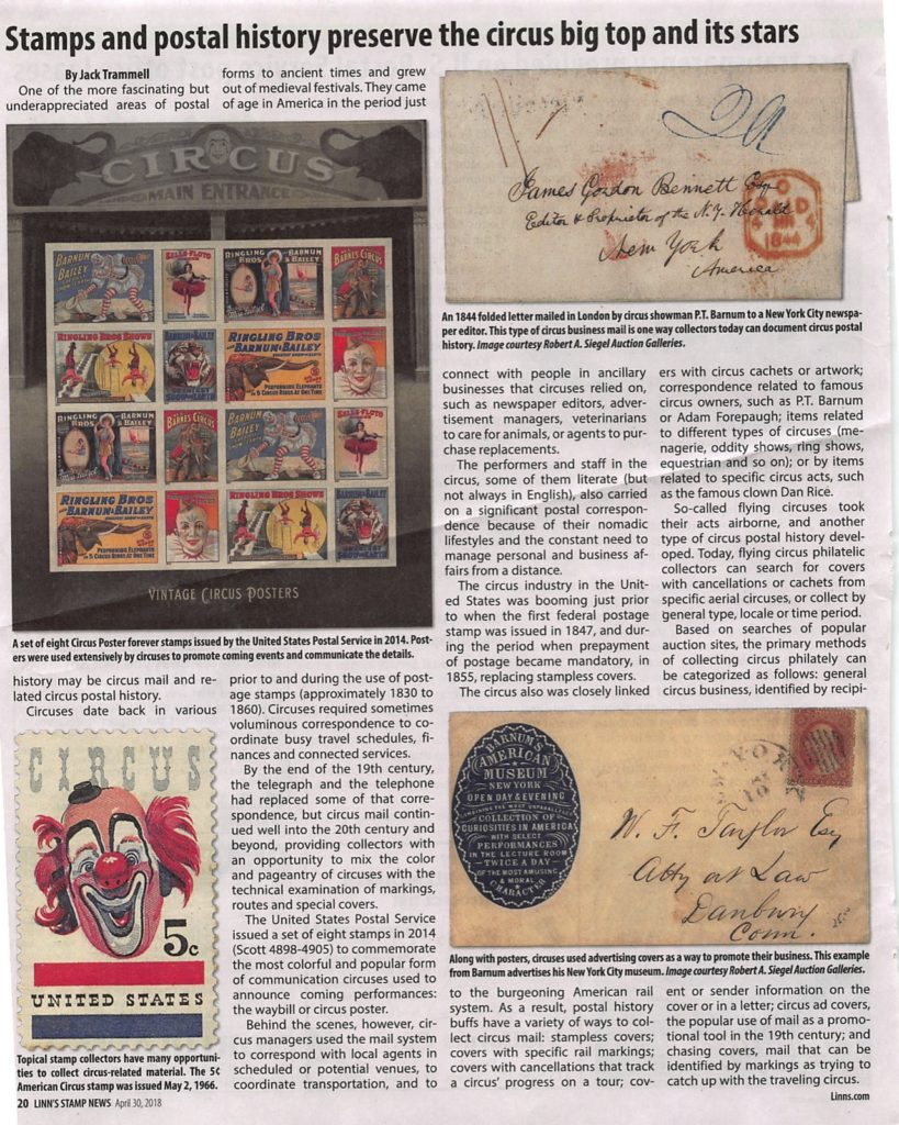 Page 1 - article on collecting circus stamps