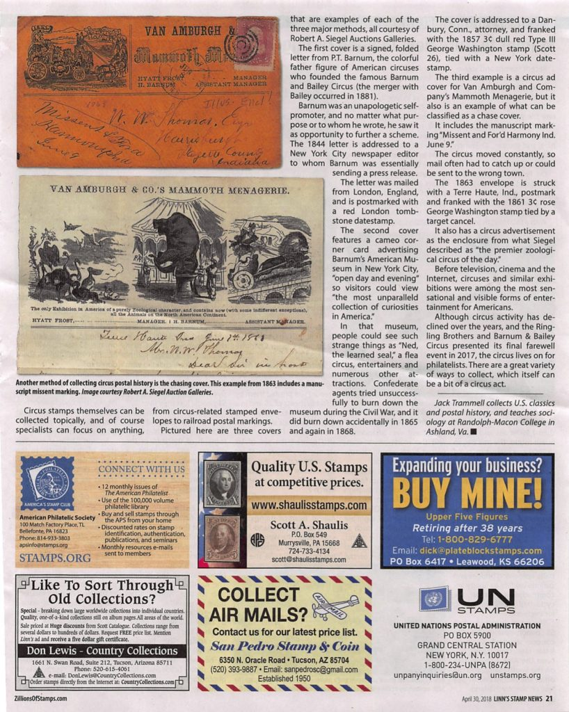 page 2- article on collecting circus stamps